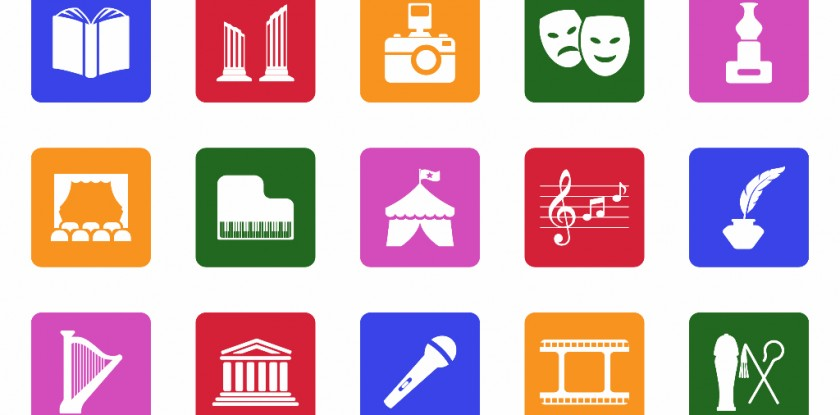 Culture Icons. White Flat Design In Square. Vector Illustration.