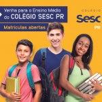 Colégio Sesc PR Ensino Médio oferta bolsas gratuitas em Londrina